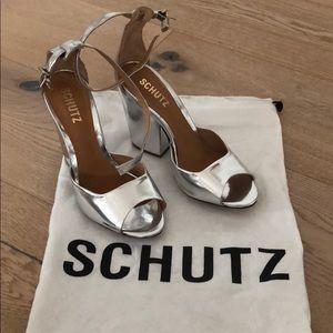 New! Schutz Anete Prata Silver Heels size 6